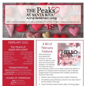 February newsletter at The Peaks at Santa Rita in Green Valley, Arizona