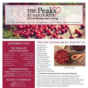 November newsletter at The Peaks at Santa Rita in Green Valley, Arizona