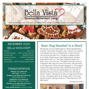 December Bella Vista Gracious Retirement Living newsletter