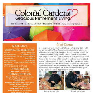 April newsletter at Colonial Gardens Gracious Retirement Living in Beverly, Massachusetts