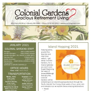 January newsletter at Colonial Gardens Gracious Retirement Living in Beverly, Massachusetts
