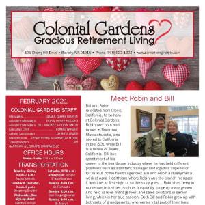 February newsletter at Colonial Gardens Gracious Retirement Living in Beverly, Massachusetts