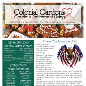 December Colonial Gardens Gracious Retirement Living newsletter