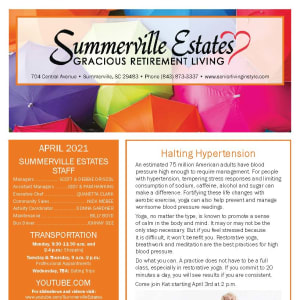April newsletter at Summerville Estates Gracious Retirement Living in Summerville, South Carolina