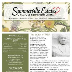 January newsletter at Summerville Estates Gracious Retirement Living in Summerville, South Carolina