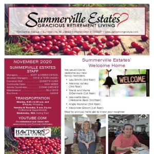 November newsletter at Summerville Estates Gracious Retirement Living in Summerville, South Carolina