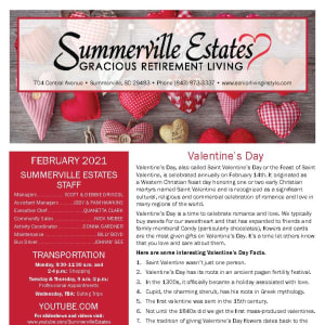 February newsletter at Summerville Estates Gracious Retirement Living in Summerville, South Carolina