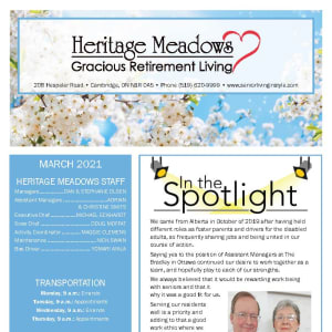 March Heritage Meadows Gracious Retirement Living newsletter