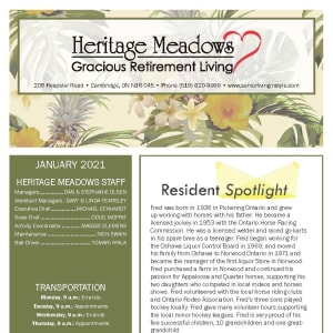 January newsletter at Heritage Meadows Gracious Retirement Living in Cambridge, Ontario