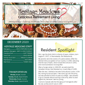 December Heritage Meadows Gracious Retirement Living newsletter