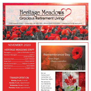 November newsletter at Heritage Meadows Gracious Retirement Living in Cambridge, Ontario