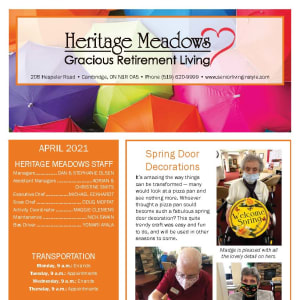 April newsletter at Heritage Meadows Gracious Retirement Living in Cambridge, Ontario