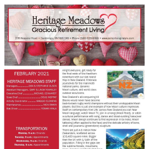 February newsletter at Heritage Meadows Gracious Retirement Living in Cambridge, Ontario