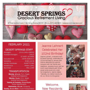 February newsletter at Desert Springs Gracious Retirement Living in Oro Valley, Arizona