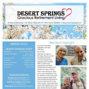 March Desert Springs Gracious Retirement Living Newsletter