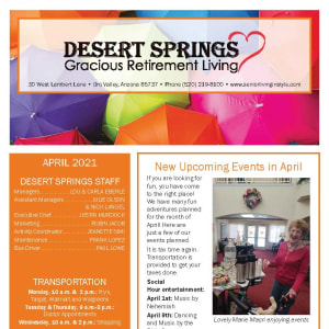 April newsletter at Desert Springs Gracious Retirement Living in Oro Valley, Arizona