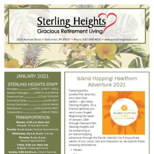 January newsletter at Sterling Heights Gracious Retirement Living in Bethlehem, Pennsylvania