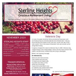November newsletter at Sterling Heights Gracious Retirement Living in Bethlehem, Pennsylvania