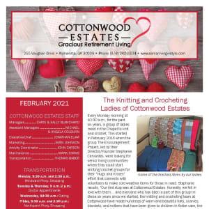 February newsletter at Cottonwood Estates Gracious Retirement Living in Alpharetta, Georgia
