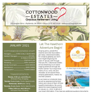 January newsletter at Cottonwood Estates Gracious Retirement Living in Alpharetta, Georgia