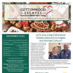 December Cottonwood Estates Gracious Retirement Living Newsletter