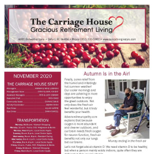 November newsletter at The Carriage House Gracious Retirement Living in Oxford, Florida
