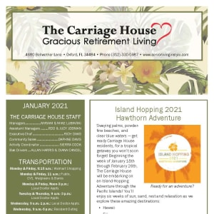 January newsletter at The Carriage House Gracious Retirement Living in Oxford, Florida