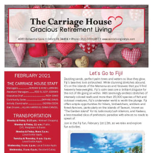 February newsletter at The Carriage House Gracious Retirement Living in Oxford, Florida