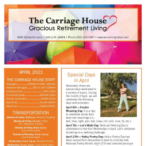 April newsletter at The Carriage House Gracious Retirement Living in Oxford, Florida