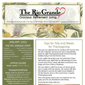January newsletter at The Rio Grande Gracious Retirement Living in Rio Rancho, New Mexico