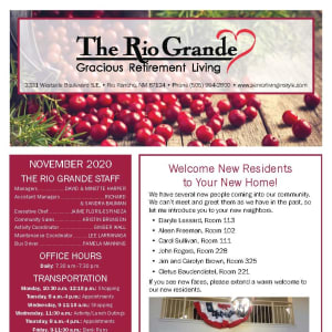 November newsletter at The Rio Grande Gracious Retirement Living in Rio Rancho, New Mexico