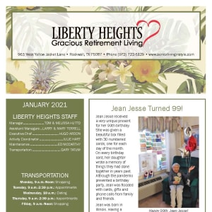 January newsletter at Liberty Heights Gracious Retirement Living in Rockwall, Texas