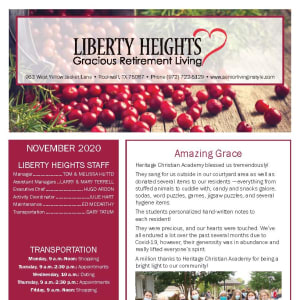 November newsletter at Liberty Heights Gracious Retirement Living in Rockwall, Texas