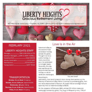 February newsletter at Liberty Heights Gracious Retirement Living in Rockwall, Texas