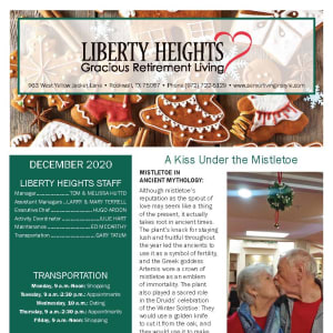 December Liberty Heights Gracious Retirement Living newsletter
