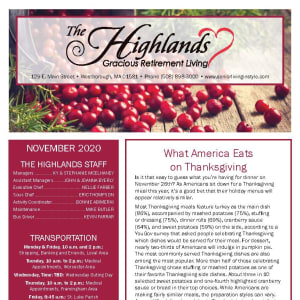 November newsletter at The Highlands Gracious Retirement Living in Westborough, Massachusetts