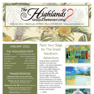 January newsletter at The Highlands Gracious Retirement Living in Westborough, Massachusetts