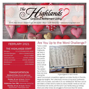 February newsletter at The Highlands Gracious Retirement Living in Westborough, Massachusetts
