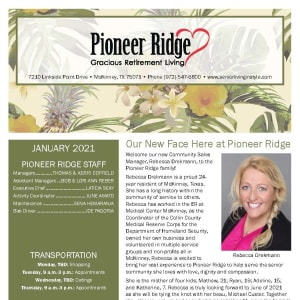 January newsletter at Pioneer Ridge Gracious Retirement Living in McKinney, Texas