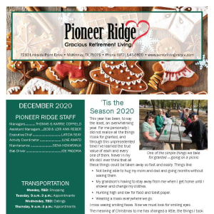 December Pioneer Ridge Gracious Retirement Living newsletter