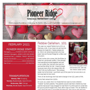 February newsletter at Pioneer Ridge Gracious Retirement Living in McKinney, Texas