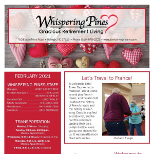 February newsletter at Whispering Pines Gracious Retirement Living in Raleigh, North Carolina