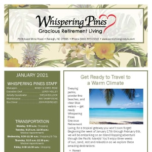 January newsletter at Whispering Pines Gracious Retirement Living in Raleigh, North Carolina