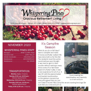 November newsletter at Whispering Pines Gracious Retirement Living in Raleigh, North Carolina