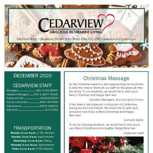 December Cedarview Gracious Retirement Living newsletter