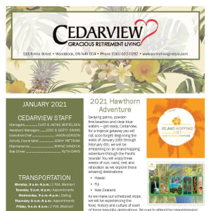 January newsletter at Cedarview Gracious Retirement Living in Woodstock, Ontario