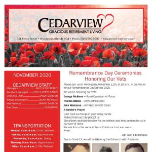 November newsletter at Cedarview Gracious Retirement Living in Woodstock, Ontario