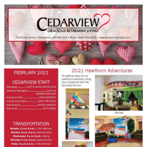 February newsletter at Cedarview Gracious Retirement Living in Woodstock, Ontario