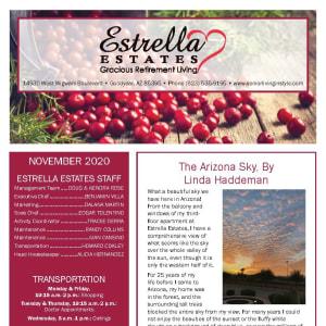 November newsletter at Estrella Estates Gracious Retirement Living in Goodyear, Arizona