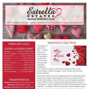 February newsletter at Estrella Estates Gracious Retirement Living in Goodyear, Arizona